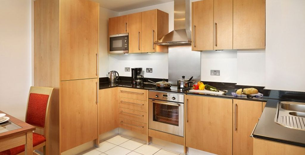 Each with a fully serviced kitchen