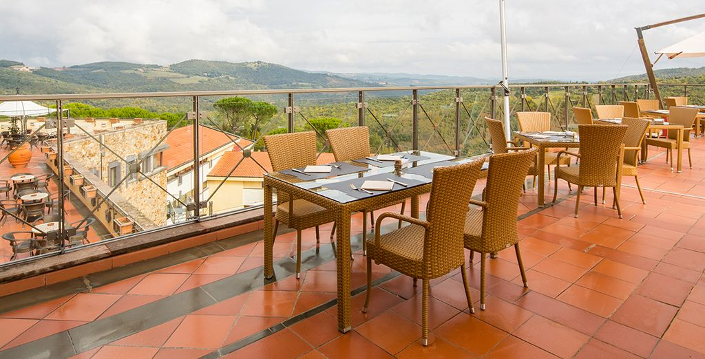 Dine outside for a view over the sprawling green