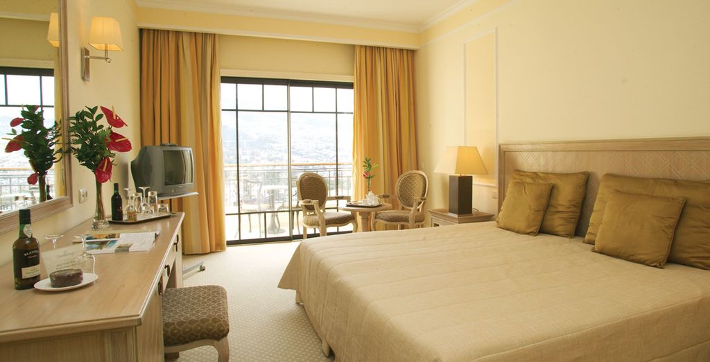 Stay in a garden view room or a panoramic view room