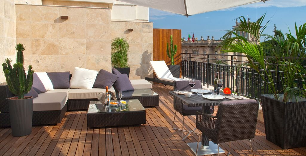 Enjoy beautiful views at the rooftop in the warmer months
