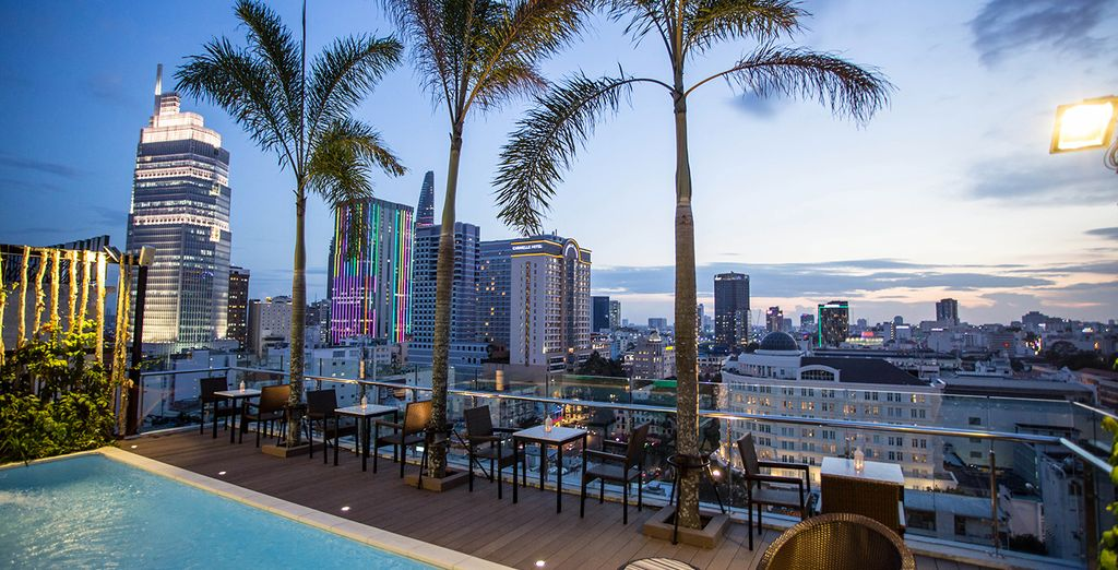 Or outside by the pool with view on the city