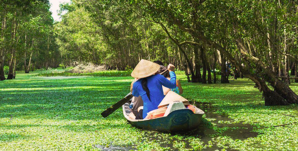 Enjoy optional excursions like cruising down the lush Mekong Delta