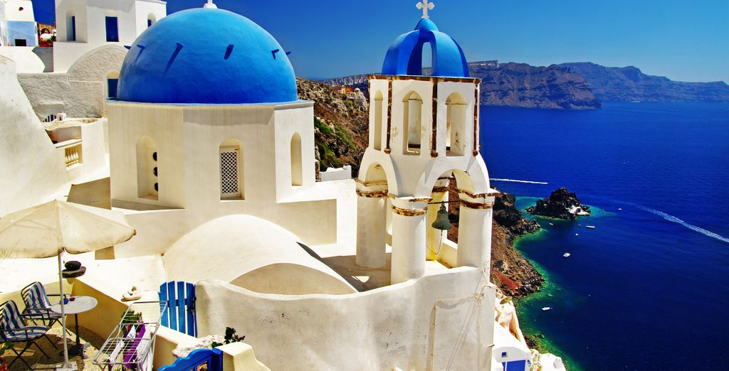 Or head out to explore this stunning island, famed for its blue-domed churches...