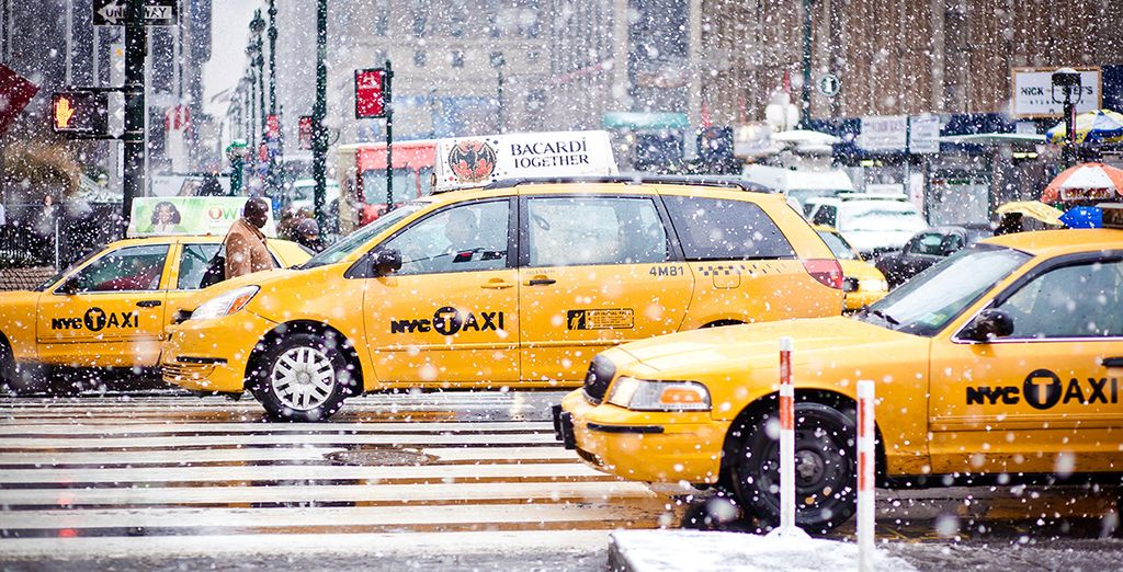 If it's chilly, hail an iconic yellow taxi!