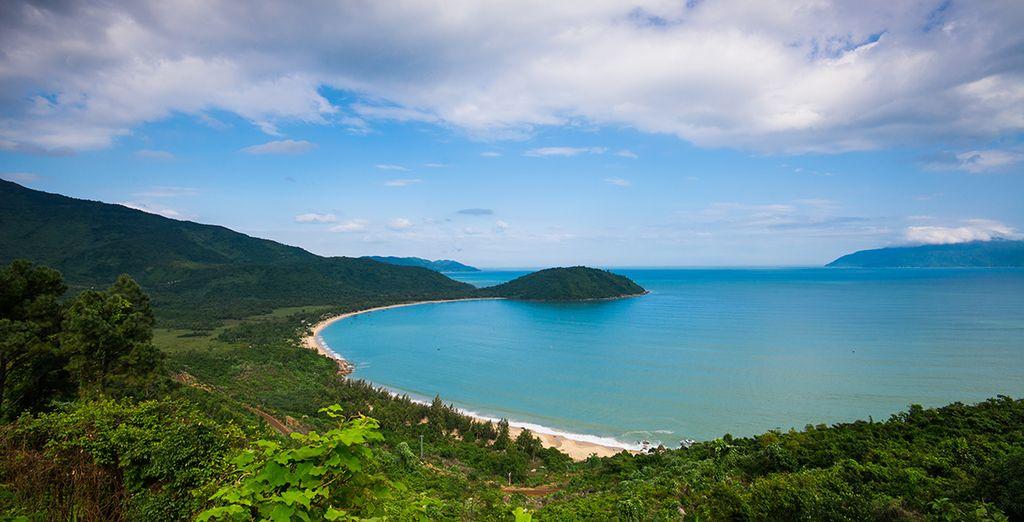 Then head towards the white beaches of Danang