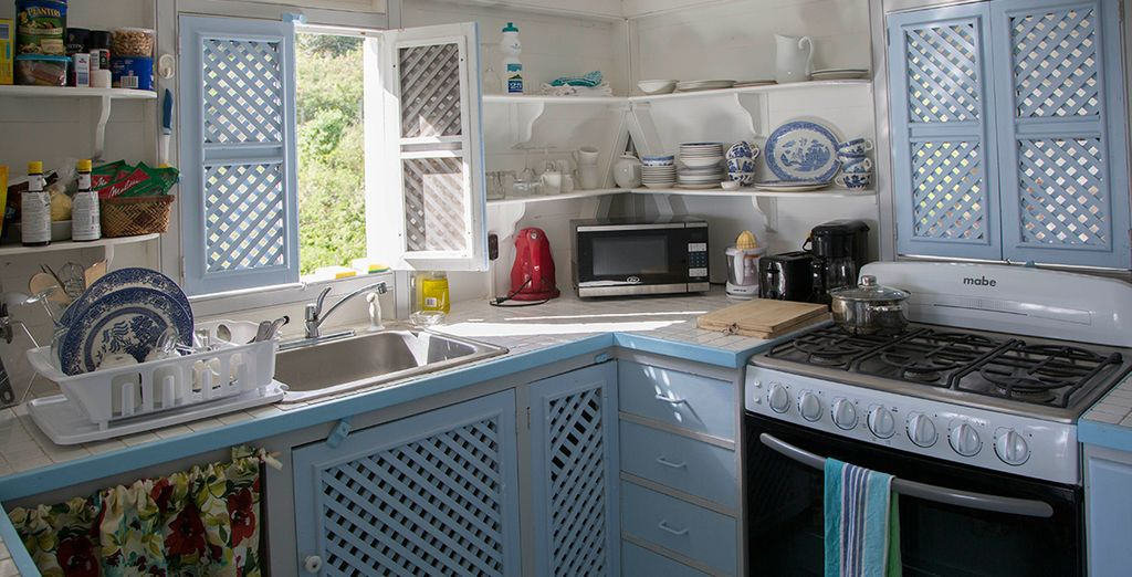 A homely kitchenette where you can prepare light meals