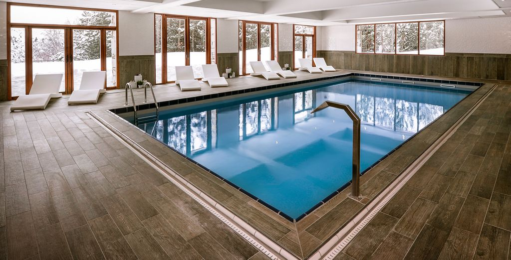 Relax in the hotel's indoor swimming pool.