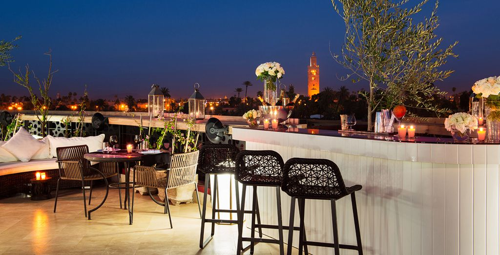 Or simply to enjoy a drink in the evening, with majestic views of the Koutoubia and Medina