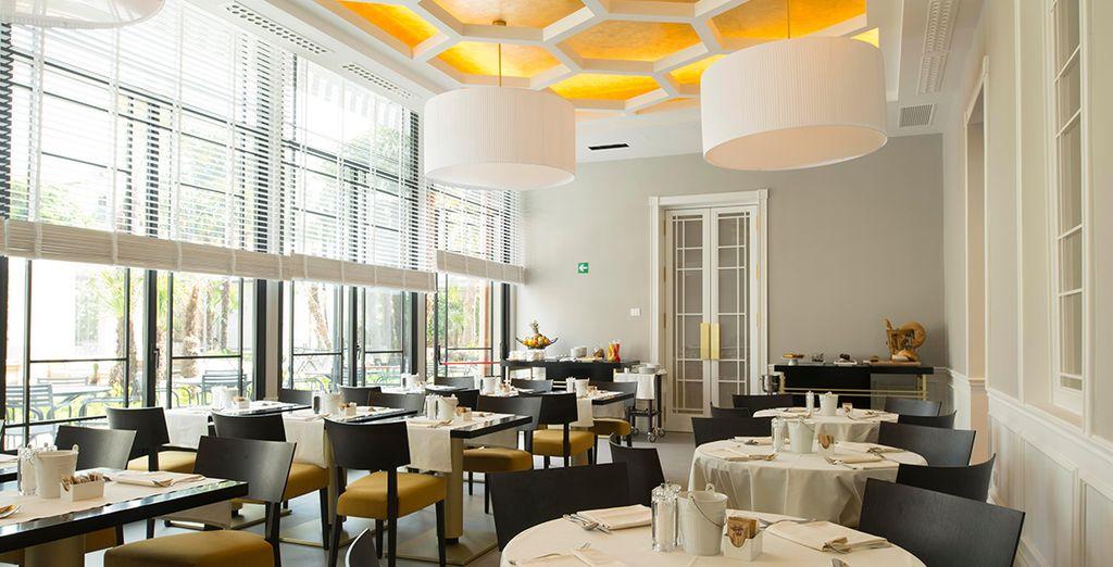 Dine amongst sharp and contemporary decor