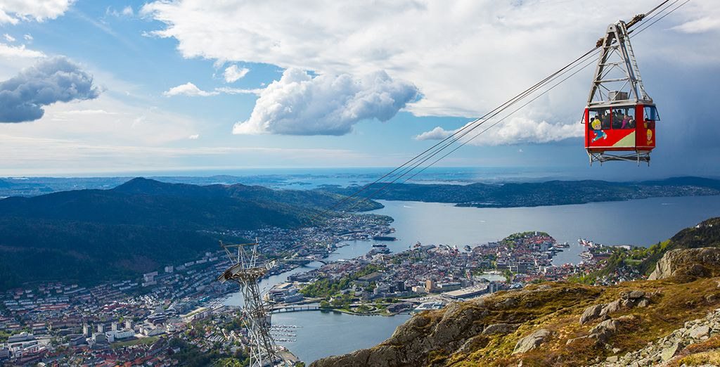 Take the cable car to the top of Mount Floyen for fantastic views