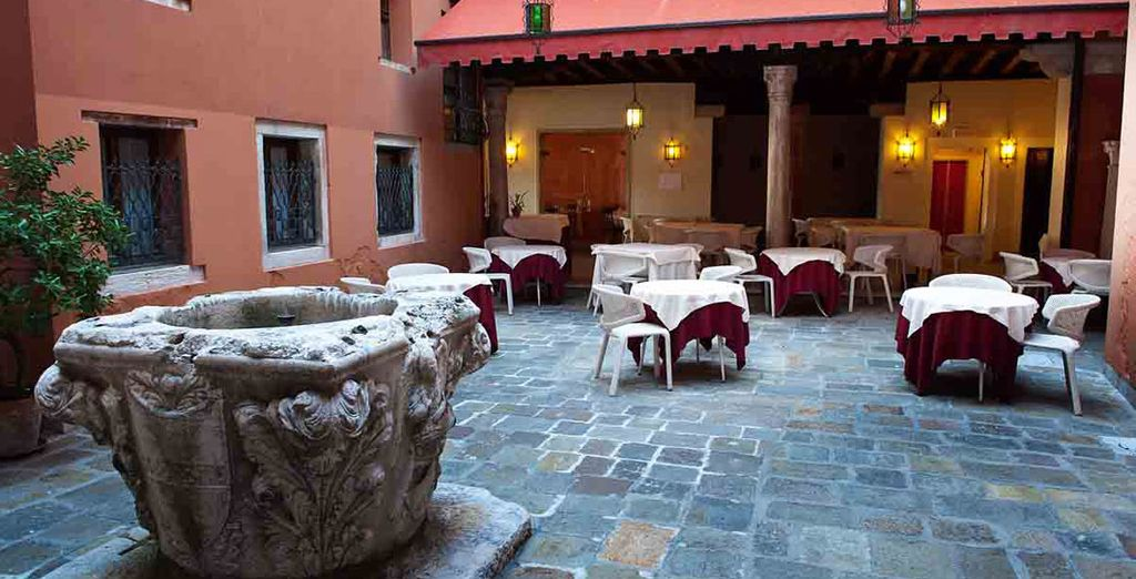 Or in the pretty courtyard