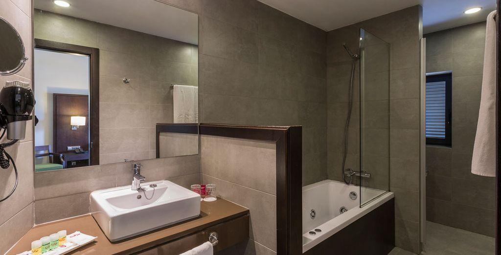 With a newly refurbished bathroom