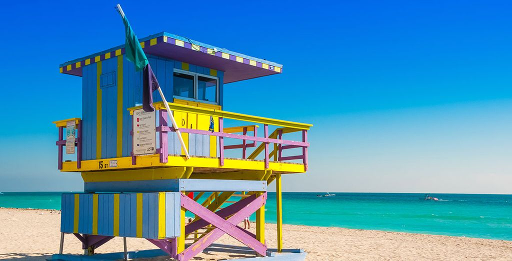 Visit the famous cabins on Miami beach