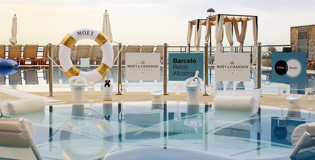 Head to the pool bar to cool down on your return