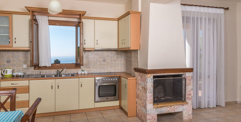 With a fully-equipped kitchen