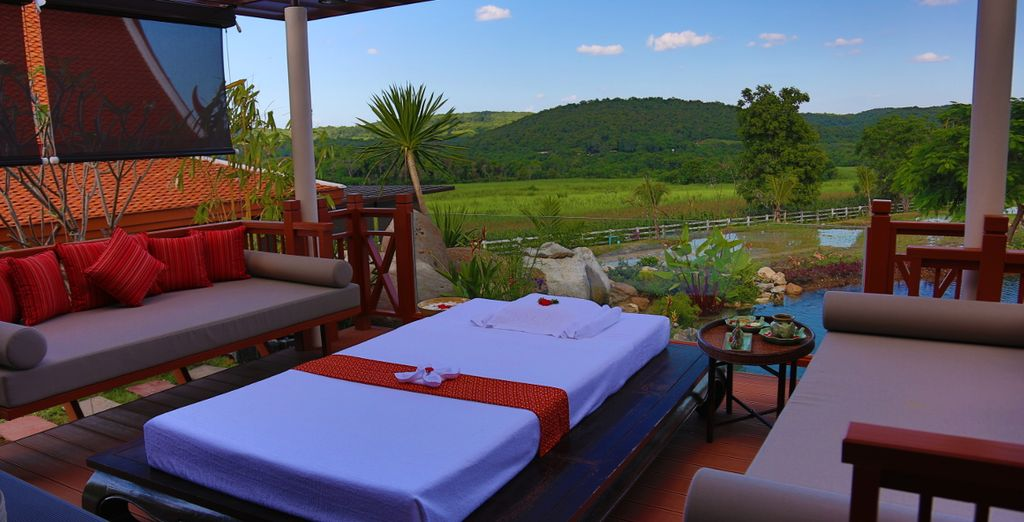 Relax on the terrace overlooking the sprawling fields