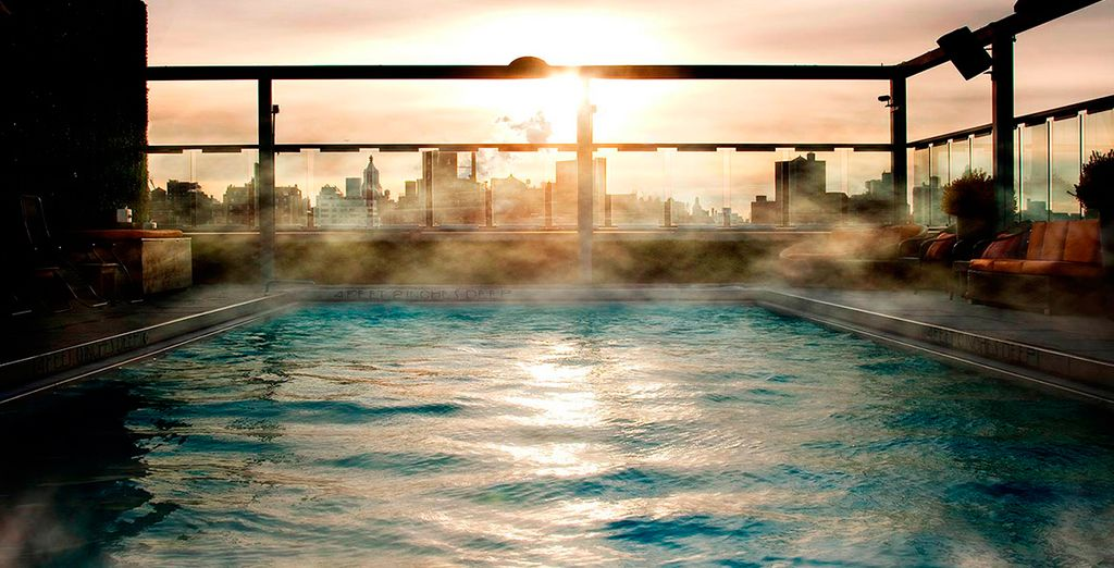 Or head up to the steaming rooftop pool to admire the views