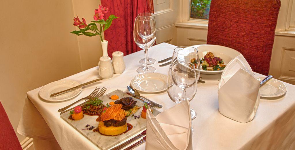 Sample seasonal British fare in the restaurant