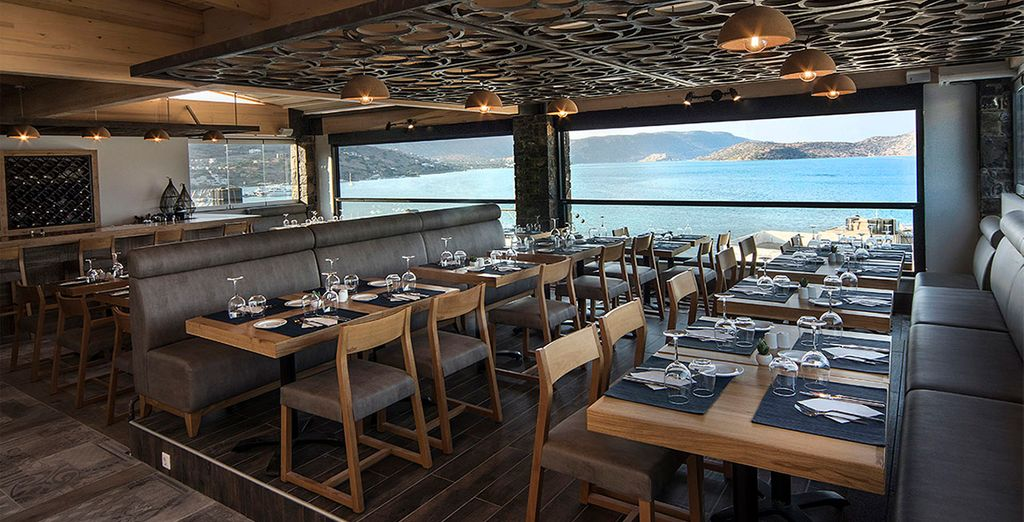 As you feast on fresh food with sea views