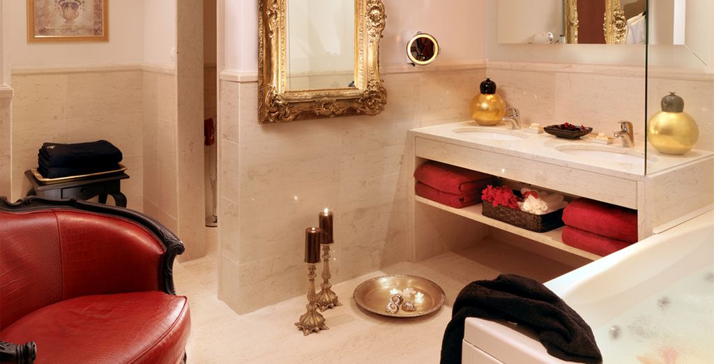 The swanky marble bathrooms are fit for royalty