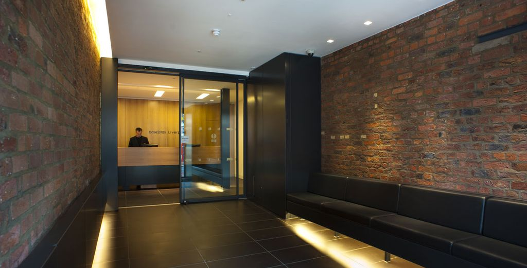 Clean lines, brickwork and glass greet you