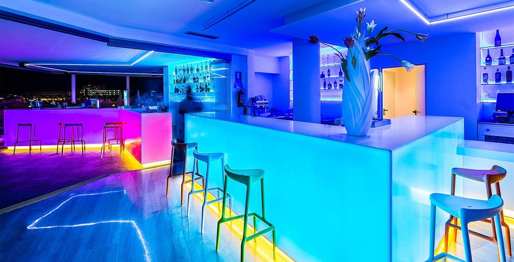 Order a drink in the glamourous bar to get a taste of Ibiza's famous nightlife