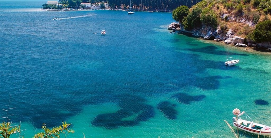...on the beach overlooking a secluded bay with crystal clear waters