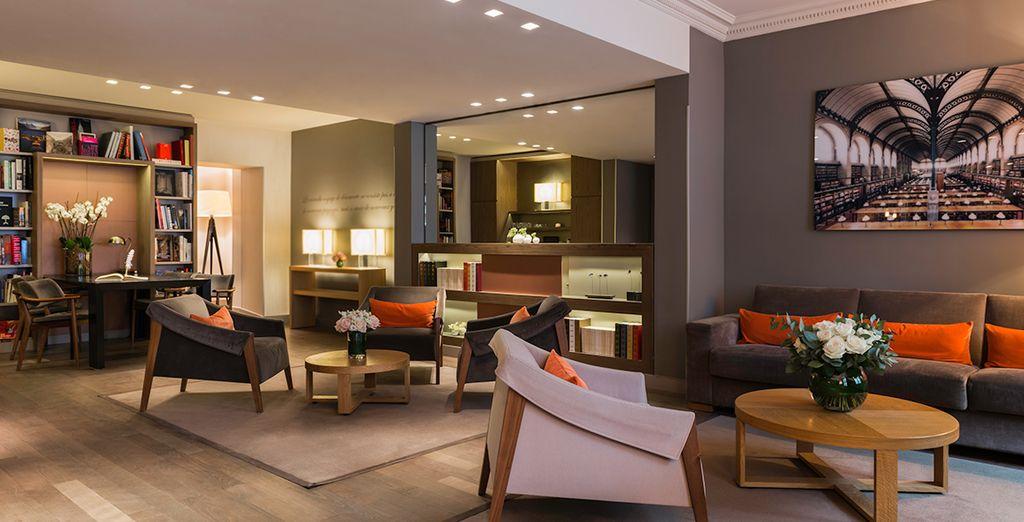 And enter a contemporary hotel
