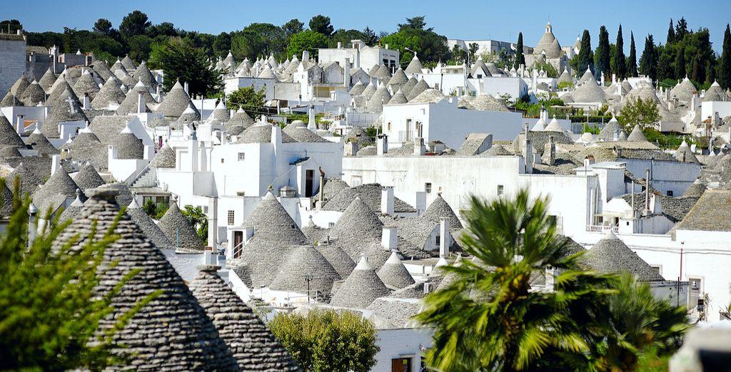 The unique white-washed limestone dwellings of Alberobello