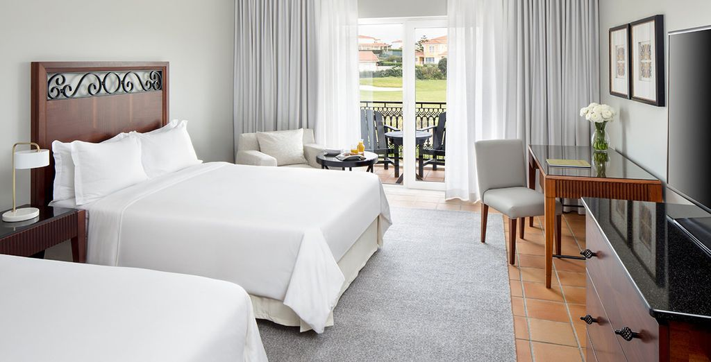 Stay in a room facing either the golf course or the garden