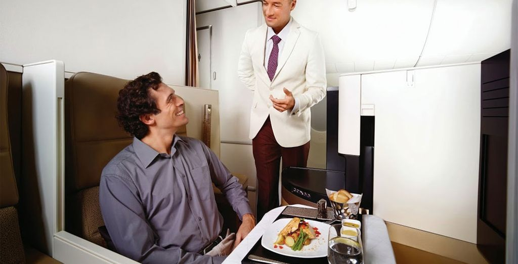 Choose from economy or business class flights with Etihad Airways