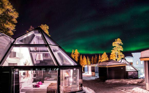Auroras boreales y Glass Igloo