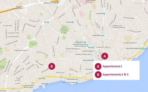 La localisation géographique des 3 appartements