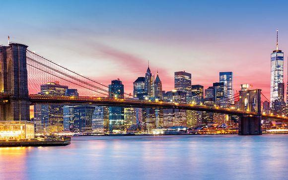 Photographie de la ville cosmopolite de New York et du Pont de Brooklyn