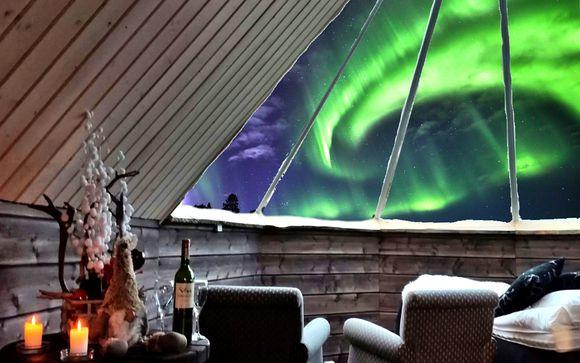 Ammirare l'Aurora Boreale in cottage con tetto in vetro